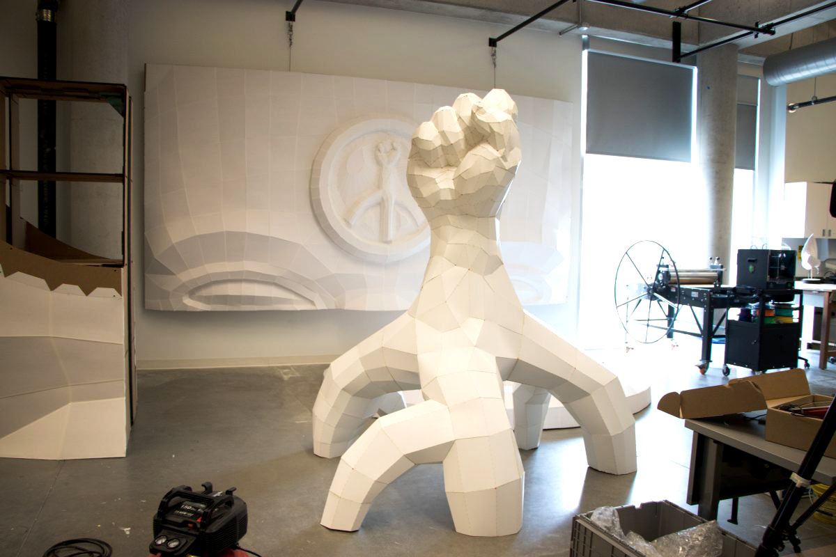 White Fist Sculpture