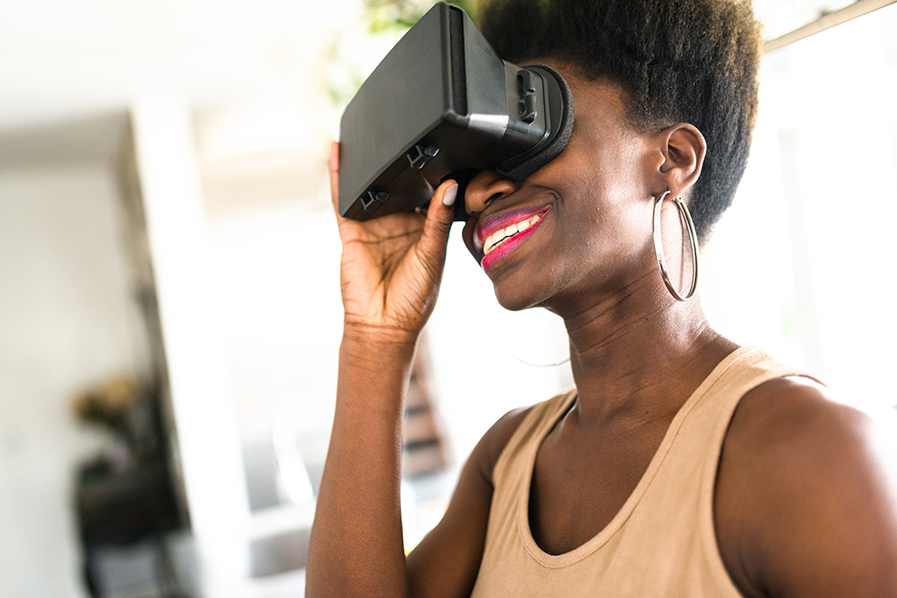 ATEC Networked Cultures student wearing VR headset