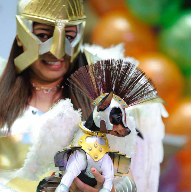 Best Costume and Pet Costume_Girl holding Dog in costume image