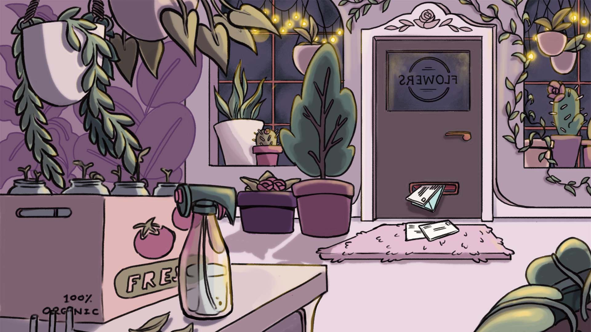 A background illustration for Night at the Flower Shop